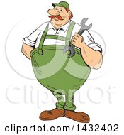 Clipart Of A Cartoon Chubby German Repair Man Holding A Spanner Wrench Royalty Free Vector Illustration