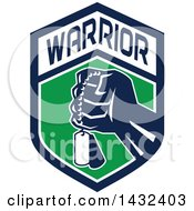 Clipart Of A Retro Clenched Fist Holding Military Dog Tags In A Blue Green And And White Warrior Crest Royalty Free Vector Illustration by patrimonio