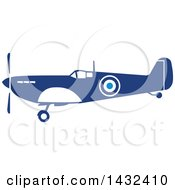 Clipart Of A Retro Blue And White World War Two Spitfire Fighter Airplane Royalty Free Vector Illustration