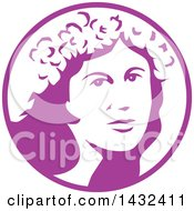 Clipart Of A Retro Womans Face With A Flower Crown In A White And Purple Circle Royalty Free Vector Illustration