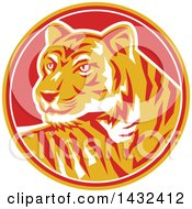 Clipart Of A Retro Tiger In A Yellow Red And White Circle Royalty Free Vector Illustration by patrimonio