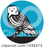 Clipart Of A Retro Snowy Owl In A Black White And Blue Circle Royalty Free Vector Illustration