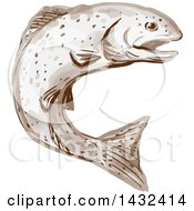 Clipart Of A Watercolor Rainbow Trout Fish Jumping Royalty Free Vector Illustration by patrimonio