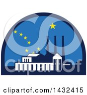 Clipart Of A Retro Powerplant And Alask Flag Styled Half Circle Royalty Free Vector Illustration
