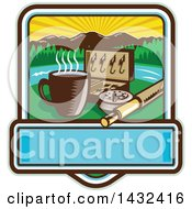 Clipart Of A Retro Woodcut Fly Box Coffee Mug And Fishing Rod In A Sunrise Square With Text Space Royalty Free Vector Illustration