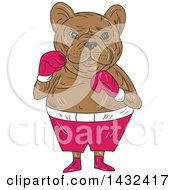 Clipart Of A Sketched French Bulldog In Boxing Gloves And Shorts Royalty Free Vector Illustration