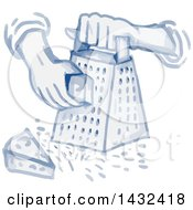 Clipart Of A Watercolor Styled Hand Grating Cheese With A Grater Royalty Free Vector Illustration
