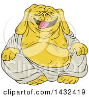 Clipart Of A Cartoon Laughing Buddha Bulldog Royalty Free Vector Illustration