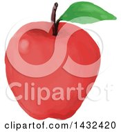 Watercolor Styled Red Apple With A Leaf