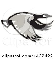 Clipart Of A Retro Flying Canadian Goose In Profile Royalty Free Vector Illustration