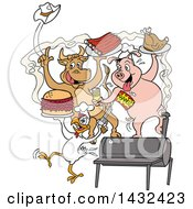 Clipart Of A Cow Pig And Chicken Celebrating Eating Bbq Ribs Burgers And Chicken Royalty Free Vector Illustration by LaffToon