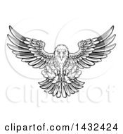 Clipart Of A Woodcut Black And White Eagle Swooping Down With Talons Extended Royalty Free Vector Illustration by AtStockIllustration