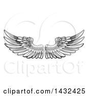 Clipart Of A Woodcut Black And White Pair Of Feathered Wings Royalty Free Vector Illustration