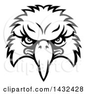 Clipart Of A Cartoon Black And White Bald Eagle Mascot Face Royalty Free Vector Illustration