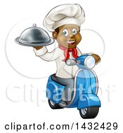 Clipart Of A Cartoon Happy Black Male Chef Holding A Cloche Platter And Riding A Scooter Royalty Free Vector Illustration