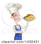 Clipart Of A White Male Chef With A Curling Mustache Holding A Souvlaki Kebab Sandwich And French Fries On A Tray And Pointing Royalty Free Vector Illustration