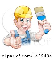 Clipart Of A Cartoon Happy White Male Painter Holding Up A Brush And Giving A Thumb Up Royalty Free Vector Illustration