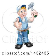 Cartoon Full Length Happy White Male Carpenter Holding A Hammer And Giving A Thumb Up