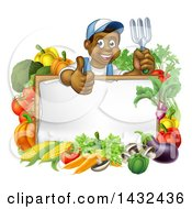 Clipart Of A Cartoon Happy Black Male Gardener Holding Up A Garden Fork And Giving A Thumb Up Over A Blank White Sign With Produce Royalty Free Vector Illustration