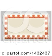 Clipart Of A Rectangular Retro Marquee Theater Sign With Light Bulbs On Gray Royalty Free Vector Illustration by AtStockIllustration