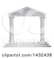 Clipart Of A 3d White Ancient Roman Or Greek Temple With Pillars Frame Royalty Free Vector Illustration
