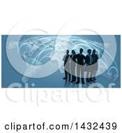 Clipart Of A Silhouetted Business Team Standing Over A Map With Glowing Paths On Blue Royalty Free Vector Illustration