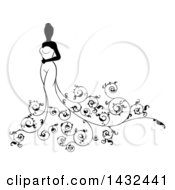 Clipart Of A Silhouetted Black And White Bride Posing In A Wedding Gown With Swirls Royalty Free Vector Illustration