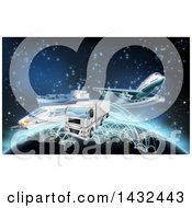 Poster, Art Print Of 3d World Map And Globe With Cargo Logistics Trains Planes Big Rig Trucks And Ships With Illuminated Paths Over Stars