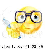 Clipart Of A Yellow Smiley Face Emoji Emoticon Scientist Holding A Test Tube Royalty Free Vector Illustration
