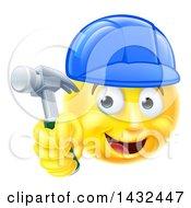 Poster, Art Print Of Cartoon Happy Yellow Emoji Smiley Face Emoticon Carpenter Holding A Hammer