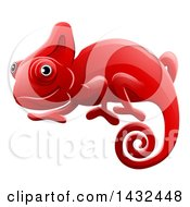 Clipart Of A Happy Red Chameleon Lizard Royalty Free Vector Illustration by AtStockIllustration