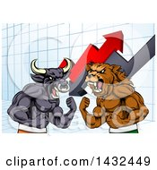 Clipart Of A Muscular Brown Bear Man And Angry Bull Ready To Fight Over A Graph With Arrows Royalty Free Vector Illustration