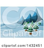 Clipart Of A Geometric Polygon Styled Winter Landscape With Mountains And Evergreen Trees Royalty Free Vector Illustration