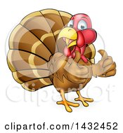 Clipart Of A Cartoon Turkey Bird Giving Two Thumbs Up Royalty Free Vector Illustration