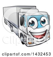 Clipart Of A Cartoon Happy Big Rig Lorry Truck Mascot Royalty Free Vector Illustration by AtStockIllustration