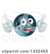 Clipart Of A Happy Bowling Ball Mascot Giving Two Thumbs Up Royalty Free Vector Illustration