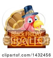 Clipart Of A Thanksgiving Turkey Bird Wearing A Pilgrim Hat And Holding A Black Friday Sale Sign Royalty Free Vector Illustration
