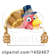 Clipart Of A Thanksgiving Turkey Bird Wearing A Pilgrim Hat And Holding A Blank Sign Royalty Free Vector Illustration