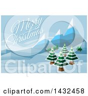 Clipart Of A Merry Christmas Greeting Over A Geometric Polygon Styled Winter Landscape With Mountains And Evergreen Trees Royalty Free Vector Illustration by AtStockIllustration
