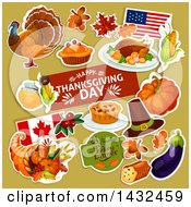 Clipart Of A Festive Thanksgiving Design With White Outlined Items On Green Royalty Free Vector Illustration by Vector Tradition SM