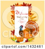 Clipart Of A Festive Thanksgiving Design With A Turkey Bird Royalty Free Vector Illustration