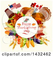 Clipart Of A Happy Thanksgiving Day Greeting In A Circle With American And Canadian Flags And Food Royalty Free Vector Illustration by Vector Tradition SM