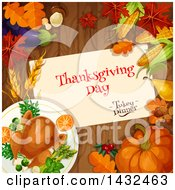 Clipart Of A Festive Thanksgiving Design With A Roasted Turkey Leaves And Produce On Wood Royalty Free Vector Illustration by Vector Tradition SM