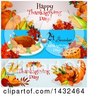 Clipart Of Happy Thanksgiving Day Greeting Website Banner Designs Royalty Free Vector Illustration by Vector Tradition SM
