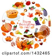 Clipart Of A Happy Thanksgiving Day Greeting In A Circle With Food Royalty Free Vector Illustration by Vector Tradition SM