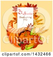 Clipart Of A Festive Thanksgiving Design With A Cornucopia Royalty Free Vector Illustration