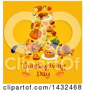 Clipart Of A Festive Thanksgiving Design With A Pilgrim Hat Formed Of Foods On Yellow Royalty Free Vector Illustration by Vector Tradition SM
