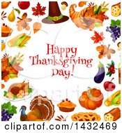 Clipart Of A Happy Thanksgiving Day Greeting In A Border With Leaves And Food Royalty Free Vector Illustration by Vector Tradition SM