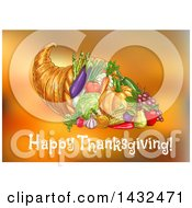 Clipart Of A Happy Thanksgiving Greeting Under A Cornucopia Over Orange Blur Royalty Free Vector Illustration
