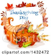 Clipart Of A Thanksgiving Day Greeting Over A Cornucopia Royalty Free Vector Illustration